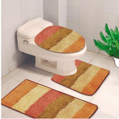 Denise 3 Piece Striped Bath Rug Color: Jewel