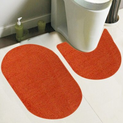 Taylor 2 Piece Bath Rug Set Color: Orange