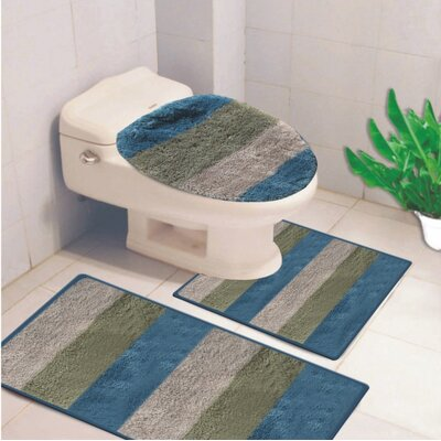 Denise 3 Piece Striped Bath Rug Color: Spa