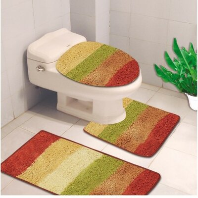 Denise 3 Piece Striped Bath Rug Color: Multi Color