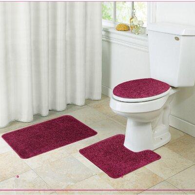 Layla Bath Rug Set Color: Burgundy