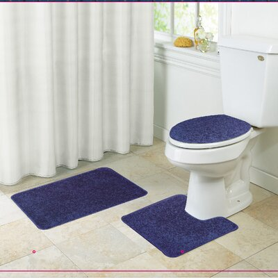 Layla Bath Rug Set Color: Navy Blue