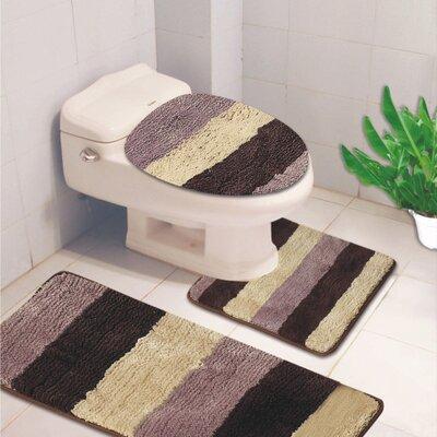 Denise 3 Piece Striped Bath Rug Color: Lilac