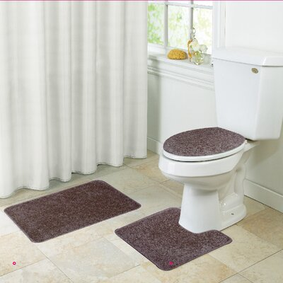 Layla Bath Rug Set Color: Chocolate