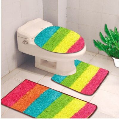 Denise 3 Piece Striped Bath Rug Color: Rainbow