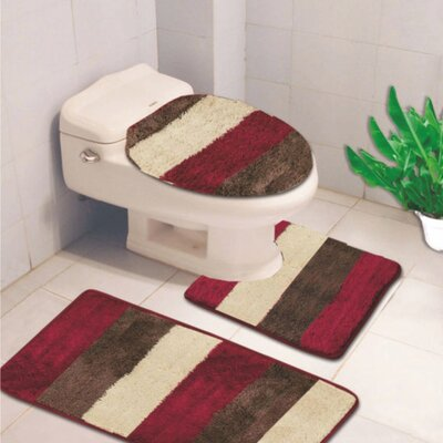 Denise 3 Piece Striped Bath Rug Color: Burgundy