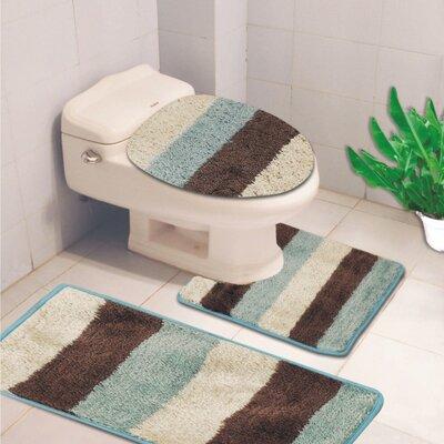 Denise 3 Piece Striped Bath Rug Color: Aqua