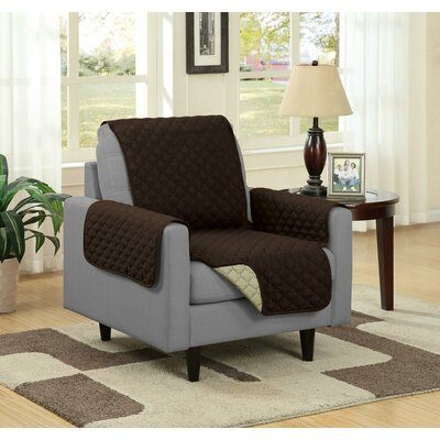Box Cushion Armchair Slipcover Upholstery: Camel/Brown