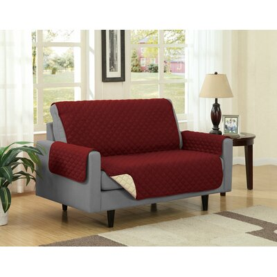 Box Cushion Loveseat Slipcover Upholstery: Burgundy/Camel