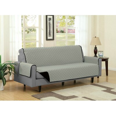 Sofa Slipcover Upholstery: Black/Gray