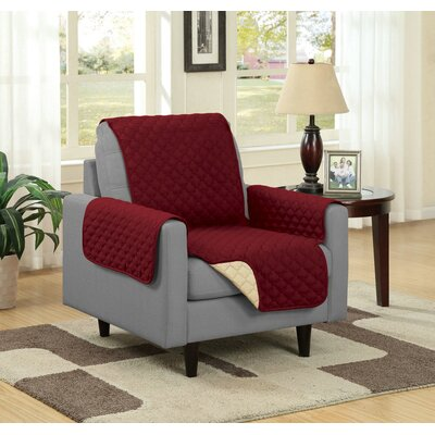 Box Cushion Armchair Slipcover Upholstery: Burgundy/Camel