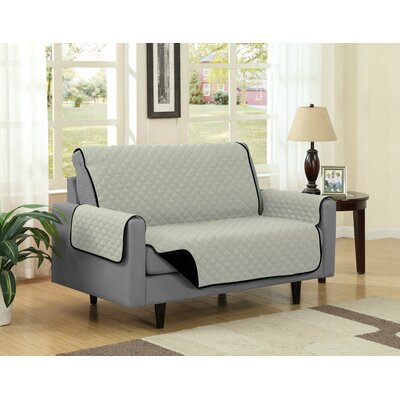Loveseat Slipcover Upholstery: Black/Gray