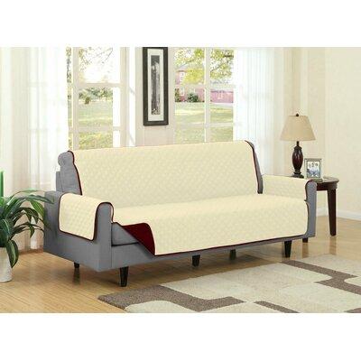 Sofa Slipcover Upholstery: Burgundy/Camel