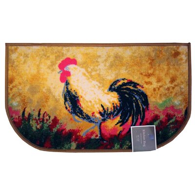 Rooster Kitchen Mat Mat Size: Semi-Circle 16 x 26