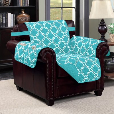 Macy Polyester Chair Slipcover Upholstery: Aqua