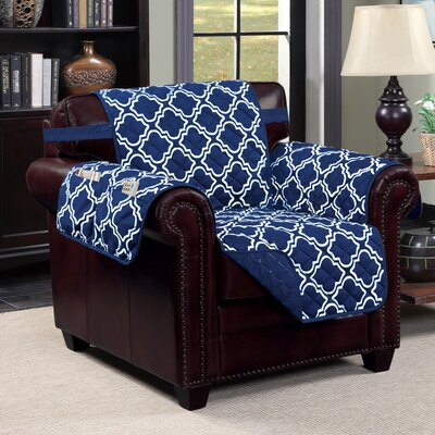 Macy T-Cushion Armchair Slipcover Upholstery: Navy/White