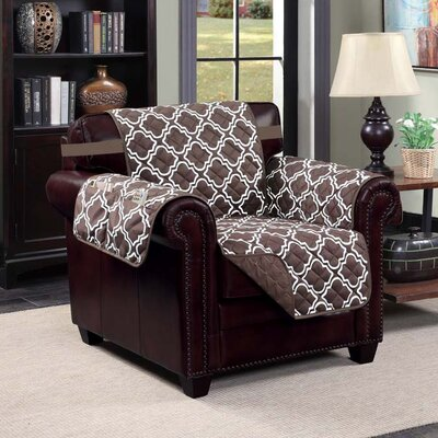 Macy Polyester Chair Slipcover Upholstery: Chocolate/ Beige