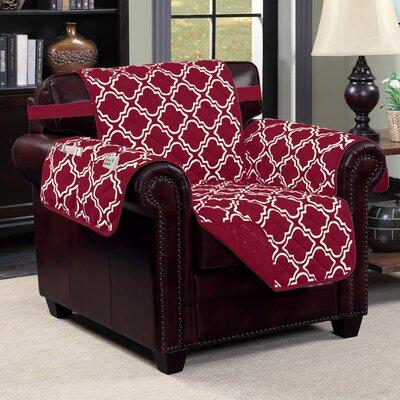 Macy T-Cushion Armchair Slipcover Upholstery: Burgundy/Beige