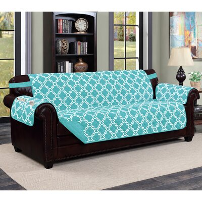 Macy Box Cushion Sofa Slipcover Upholstery: Aqua