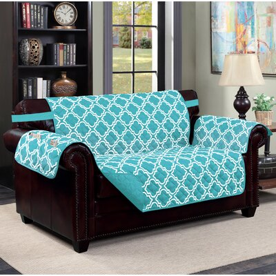Macy Box Cushion Loveseat Slipcover Upholstery: Aqua
