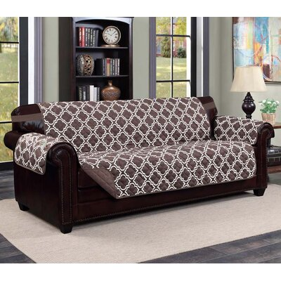 Macy Box Cushion Sofa Slipcover Upholstery: Chocolate/Beige