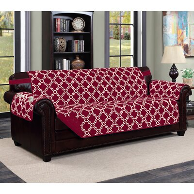 Macy Box Cushion Sofa Slipcover Upholstery: Burgundy/Beige