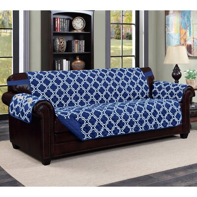 Macy Box Cushion Sofa Slipcover Upholstery: Navy/White