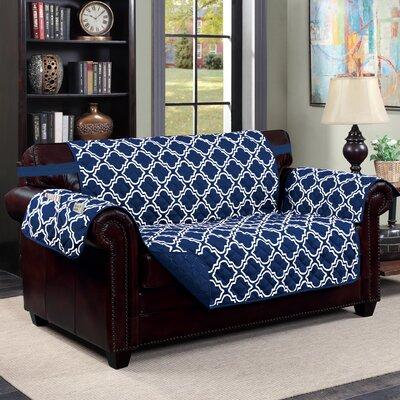 Macy Box Cushion Loveseat Slipcover Upholstery: Navy/White