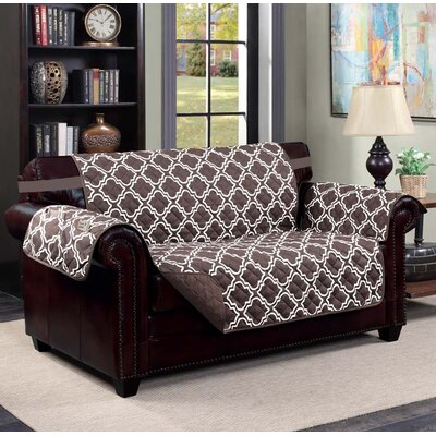 Macy Box Cushion Loveseat Slipcover Upholstery: Chocolate/ Beige