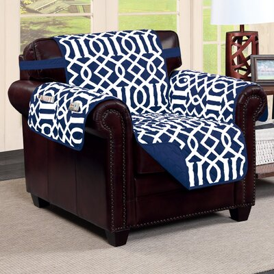 Tori Box Cushion Armchair Slipcover Finish: Navy/White