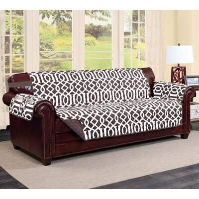 Tori Box Cushion Sofa Slipcover Finish: Chocolate/Beige