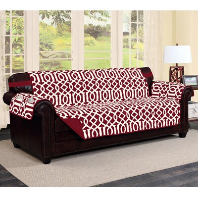 Tori Box Cushion Sofa Slipcover Finish: Burgundy/Beige
