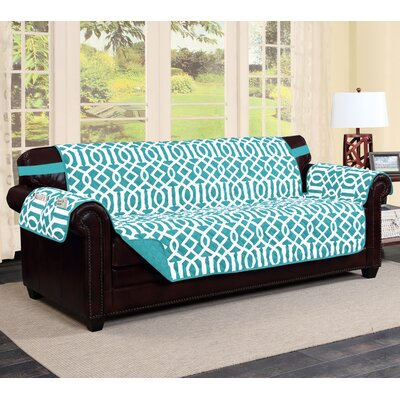 Tori Box Cushion Sofa Slipcover Finish: Aqua/Aqua