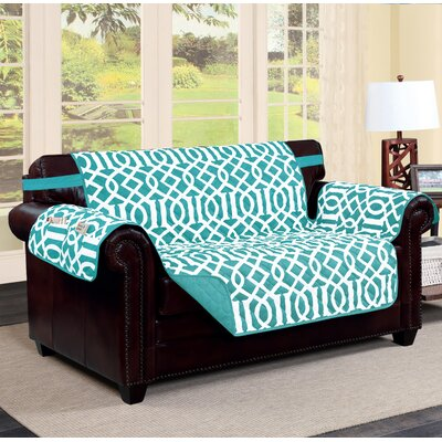 Tori Box Cushion Loveseat Slipcover Finish: Aqua/Aqua