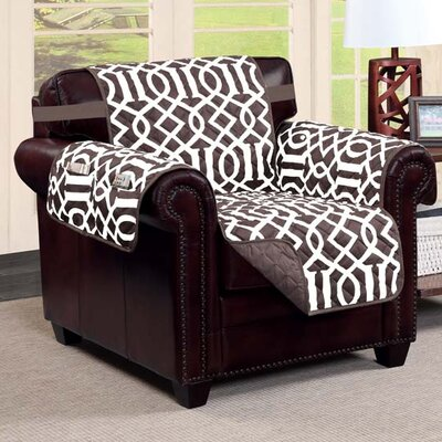 Tori Box Cushion Armchair Slipcover Finish: Chocolate/Beige