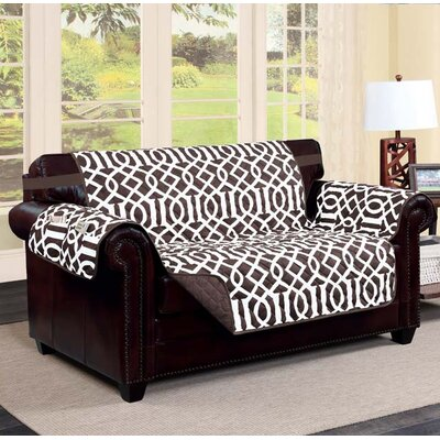 Tori Box Cushion Loveseat Slipcover Finish: Chocolate/Beige