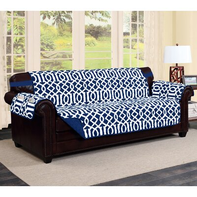 Tori Box Cushion Sofa Slipcover Finish: Navy/White