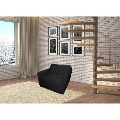 Jersey Box Cushion Armchair Slipcover Upholstery: Black