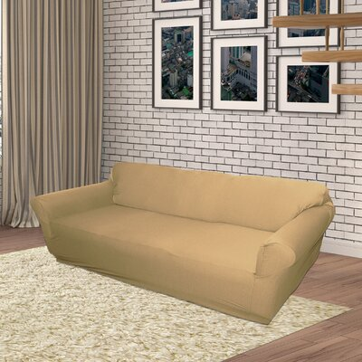Jersey Box Cushion Sofa Slipcover Upholstery: Linen