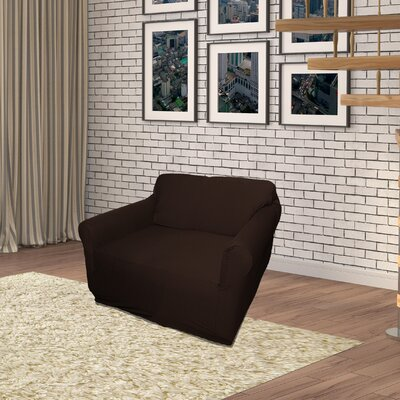 Jersey Box Cushion Armchair Slipcover Upholstery: Chocolate