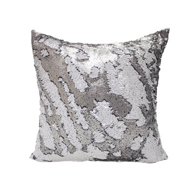 Laraine Sequin Throw Pillow Color: Silver and White Matte
