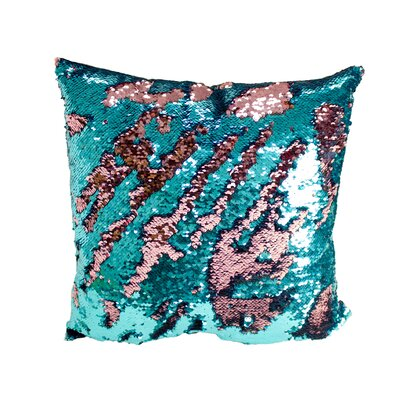 Laraine Sequin Throw Pillow Color: Turquoise and Pink