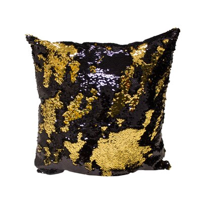 Laraine Sequin Throw Pillow Color: Black and Gold