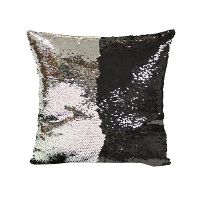 Laraine Sequin Throw Pillow Color: Black and Silver