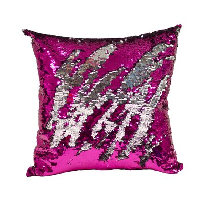 Laraine Sequin Throw Pillow Color: Fuchsia and Silver