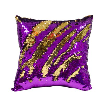Laraine Sequin Throw Pillow Color: Purple and Gold