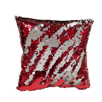 Laraine Sequin Throw Pillow Color: Red and Gray