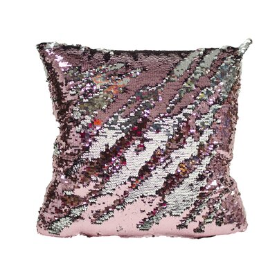 Laraine Sequin Throw Pillow Color: Pink and Silver