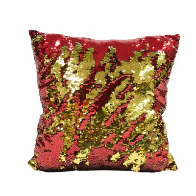 Laraine Sequin Throw Pillow Color: Red and Gold