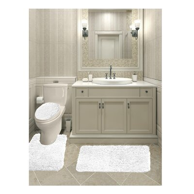 Micahel Solid Plush Microfiber Bath Rug Set Color: White